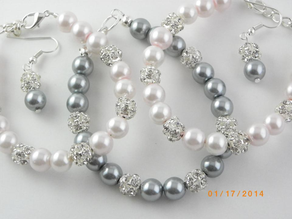 other sale set of 6 bracelet and earrings bridesmaid grey