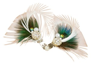 BRAND NEW Rhinestone Peacock Goose Feather Shoe Clips