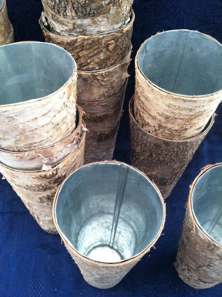Taupe 15 Birch Wrapped Steel Vases Centerpiece Tradesy