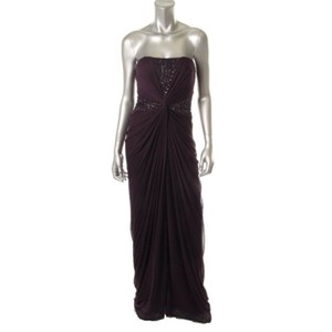 Adrianna Papell Prom Wedding Bridesmaid Black Tie Train Strapless Beaded Dress