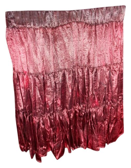 Frederick's of Hollywood Red Satin Medium Pleated Mini Skirt BING CHERRY