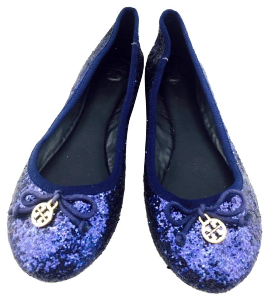 0e4f4ef8a754 Tory Burch Blue Glitter Ballet with Gold Logo Charm New Flats Size ...