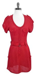 Nanette Lepore short dress Red Knit Button Down Belted on Tradesy