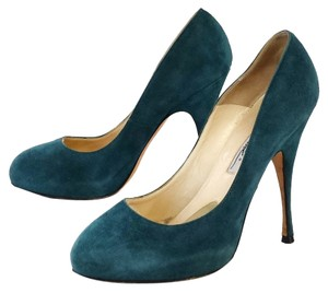 Brian Atwood Teal Suede Pumps
