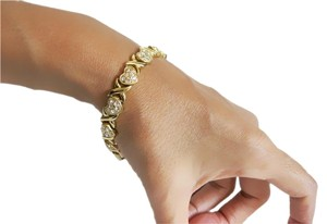 Gold Tone Link Bracelet with Clear Rhinestones Hearts and X's