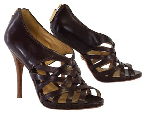 L.A.M.B. Tammy Brown Leather Heels Sandals