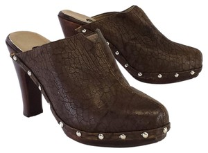 Salpy Brown Embossed Leather Studded Mules