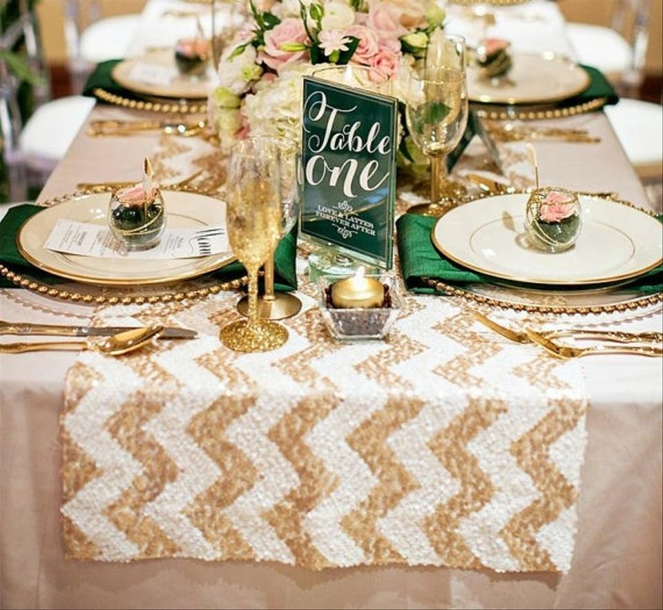 12 x 108 chevron champagne and white sequin table runner tradesy weddings. Black Bedroom Furniture Sets. Home Design Ideas
