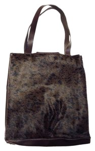 49 Square Miles Leather Ponyhair Tote in Dark Brown and Black