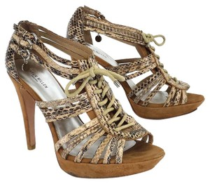 Karen Millen Tan Snakeskin Leather Embossed Heels Sandals