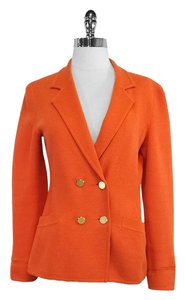 Giorgio Armani Orange Wool Blend Knit Jacket