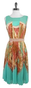 BCBGMAXAZRIA Multi Color Print Pleated Dress