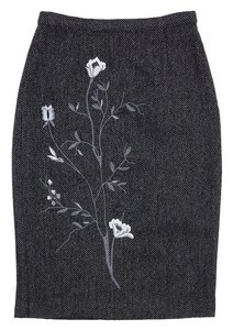 Dolce&Gabbana Grey Tweed Pencil Skirt Grey/ black