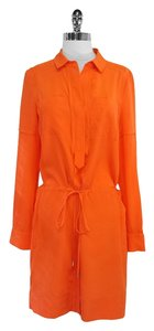 Diane von Furstenberg Orange Silk Shirt Shirt Dress