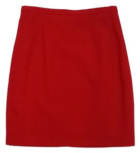Escada Red Wool Skirt