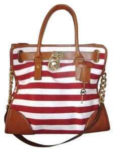 Michael Kors Red Striped Hamilton Rare Leather Shoulder Bag