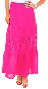 My Story Embroidered Maxi Skirt Dark Pink