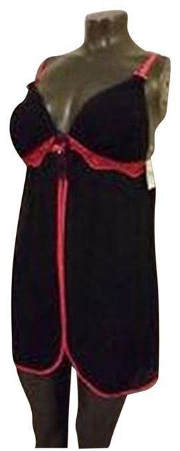 LINEA DONATELLA GOWN M CHEMISE PADDED BRA BLACK W RED Lace Nightgown w/ Thong SHEER NWT LINEA