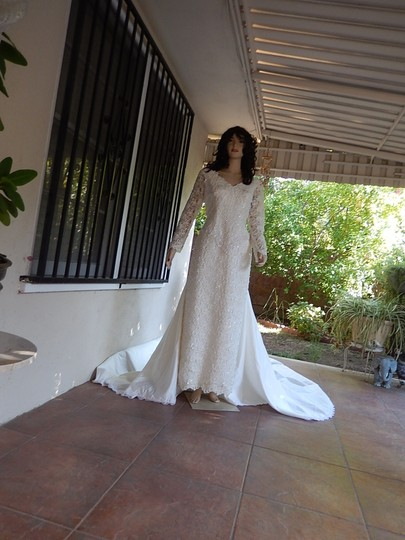 Ivory White Satin and Lace Tags Were Removed Vintage Wedding Dress Size 16 (XL, Plus 0x)