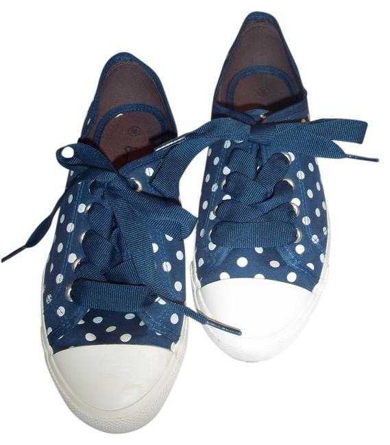 Item - Navy W. White Polka Dots Casual Sneakers Flats Size US 7