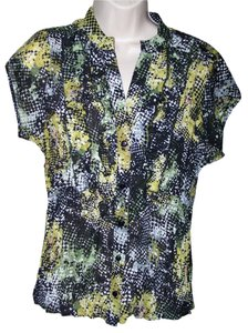 New York & Collection Ny Medium Crinkle Button Down Shirt Multi Color