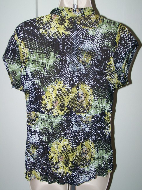 New York & Collection Ny Medium Crinkle Short Sleeve Button Down Shirt Multi Color