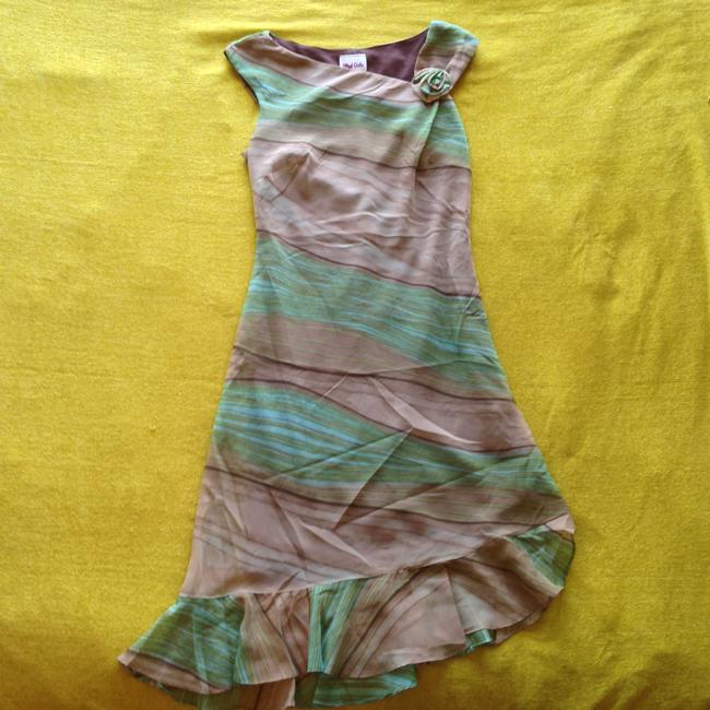 Blind Date short dress Greens & Browns Ruffle Asymmetical Hem Striped Rosette Earthy Earth Tones Rose on Tradesy
