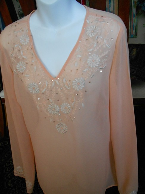 Together Embroidery Sequins Size 8 Sheer Top PEACH