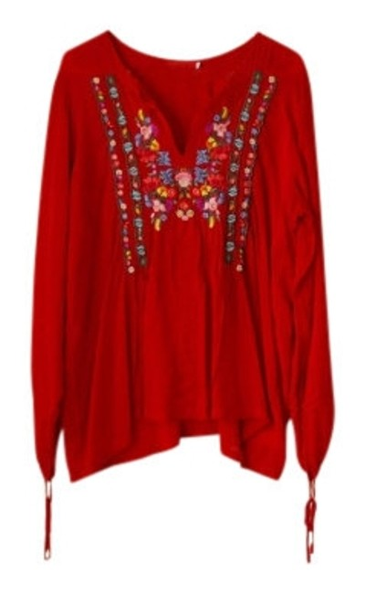 Preload https://img-static.tradesy.com/item/7884/red-floral-embroidered-tunic-size-14-l-0-0-650-650.jpg