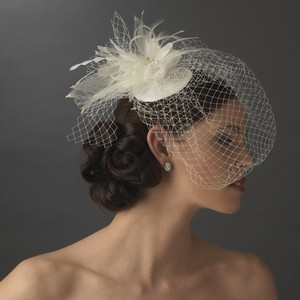 Elegance by Carbonneau Ivory Birdcage Hat with Feathers and Crystals Bridal Veil