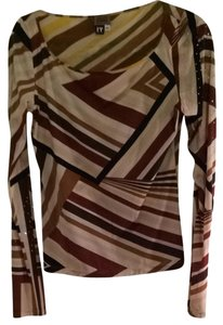 Gianfranco Ferre Top Patterned Brown Black Cream Tan