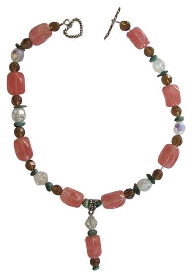 Preload https://img-static.tradesy.com/item/788597/pink-green-topaz-color-clear-silver-chunky-beads-pendant-necklace-0-0-540-540.jpg