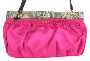 Furla Detachable Cross Body Strap Fuschia and Natural Clutch