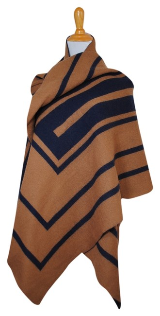 Item - Camel Navy Blue New Wool Blanket Giant Large Big Poncho Fall Scarf/Wrap