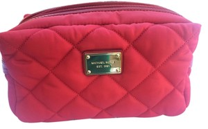 Michael Kors MICHAEL KORS Red Quilted Soft Makeup Cosmetic Bag