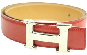 Hermès Red 32MM Leather Belt Silver H Buckle Belt Sz 65 HTL118S