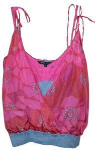 Marc Jacobs 100% Silk 100% Cotton Spaghetti Strap Top Paradise Pink Multi