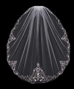 EnVogue Bridal White Fingertip Wedding Veil With Beaded Silver Embroidery