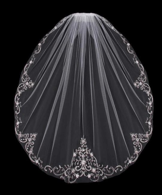 Item - White/Silver Medium Fingertip with Beaded Embroidery Bridal Veil