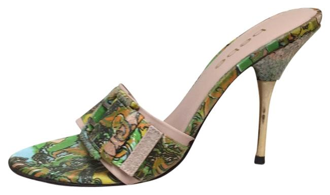 Item - Green and Gold Pattern Pumps Size US 6.5 Regular (M, B)