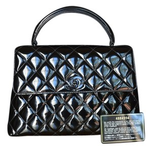 Chanel Vintage Patent Kelly Hardware Tote in Black