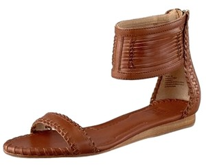Frye Leather Woven Flat Ankle Strap Cognac Sandals