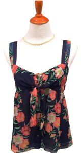 Elie Tahari Silk Sleeveless Top Navy Floral Print