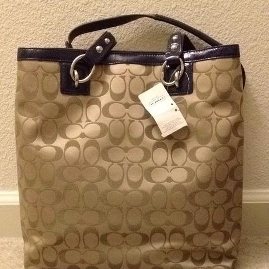 Coach Canvas Leather Trim Tote Shoulder Bag