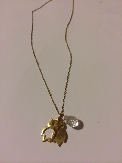 Anthropologie Owl Necklace With Clear Gem
