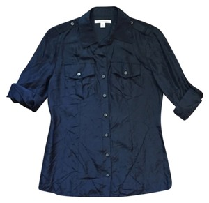 Banana Republic Silk Button Down Shirt Navy blue