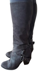 Fergie Leather Buckle Knee High Tall Short Heel Fashion Winter Brown Boots