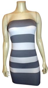 Active Basic short dress Gray and White striped Mini Top P350 on Tradesy
