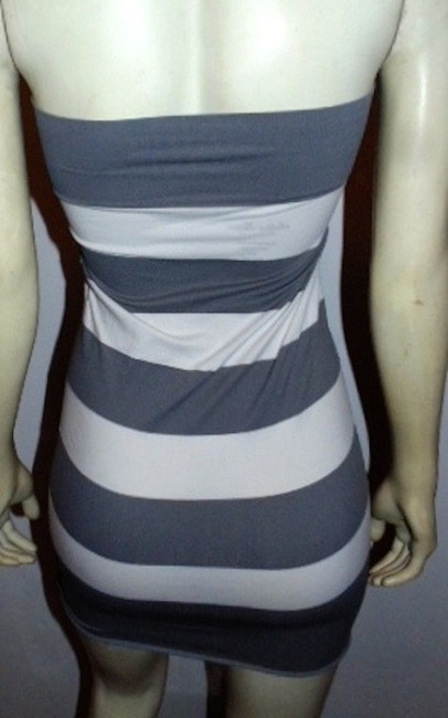 Active Basic short dress Gray and White striped Mini Top P350 Summersale on Tradesy