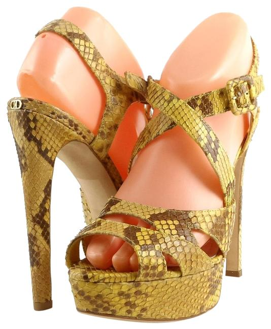 Item - Yellow/ Brown Christian Kce398pit Sorbet Python Leather Strappy Sandals Size EU 38 (Approx. US 8) Regular (M, B)
